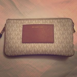 Michael Kors white and tan wallet/clutch